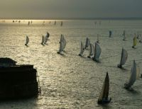 Yachts in the Solent after the start of the 2006 Sevenstar Round Britain and Ireland Race