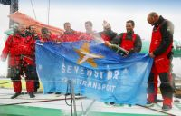 The crew of Volvo Open 70 Groupama after breaking the Records. Photo: Patrick Eden Photography