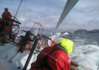 Volvo Open 70 Groupama rounds the Shetland Islands