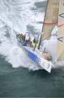 Telefonica Azul lead the fleet at the start of the Sevenstar Round Britain and Ireland Race. Photo: RORC/Rick Tomlinson