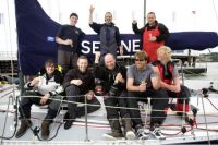 Adrian Lower and the crew of Selene at the finish of the Sevenstar Round Britain and Ireland Race - photo RORC/Patrick Eden